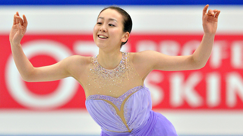 Japan's Mao Asada finished with 78.66 points in the short program, surpassing the record of 78.50.