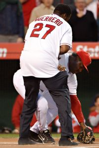 Angels coach Baylor hurt on ceremonial pitch