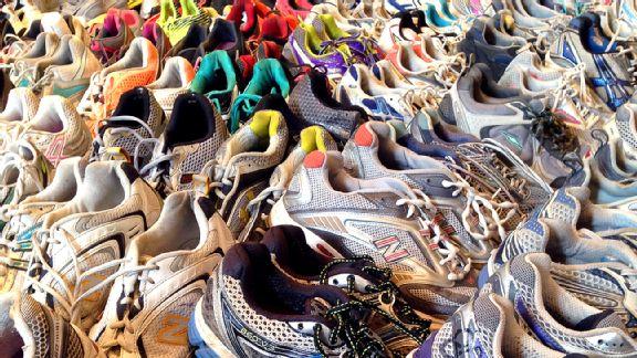 Dear Boston Marathon display, running shoes