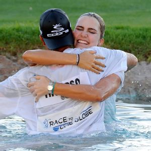 Caddie Benji Thompson seems to be the perfect sidekick for Lexi, helping her relax and have fun in between golf shots.