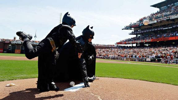 Miles Scott, aka Batkid, throwing out the first pitch at AT&T Park for the San Francisco Giants' home-opener.
