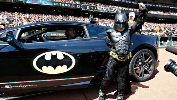 Miles Scott, aka Batkid, before throwing out the first pitch at AT&T Park for the San Francisco Giants' home-opener.
