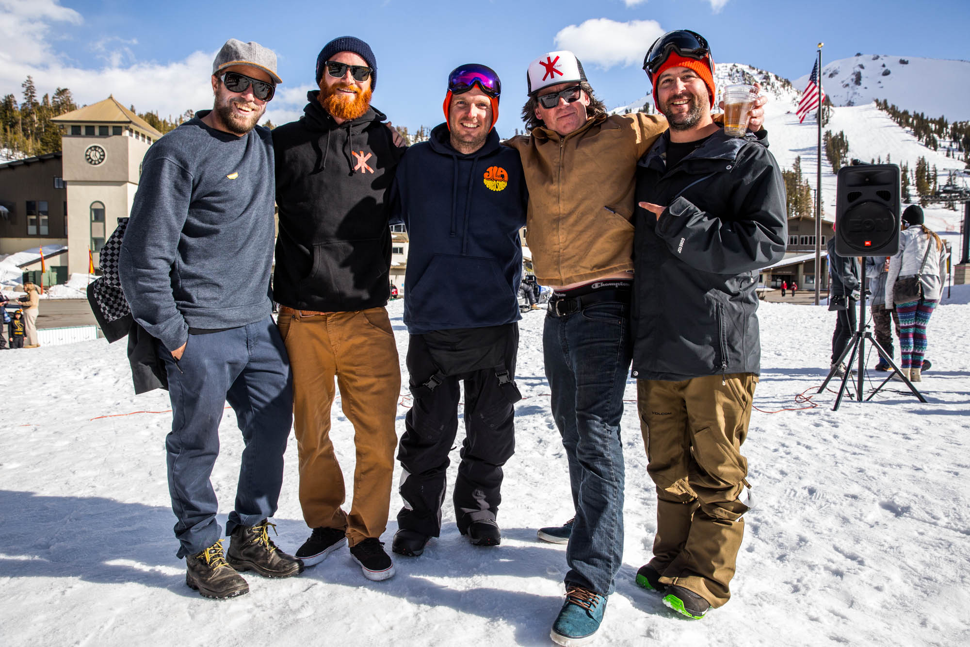 From L to R: Ryan Boyes, a thoroughly bearded Pat Moore, the maestro Billy Anderson, the legendary Shaun Farmer and Volcom's Oren Tanzer -- formerly of Mammoth Unbound and a undeniable influence on terrain park evolution.