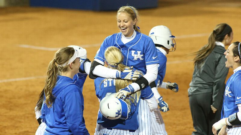Kentucky senior outfielder/designated player Emily Gaines, lifted by teammate Christian Stokes, leads the Wildcats with both a .427 batting average and a .574 on-base percentage.