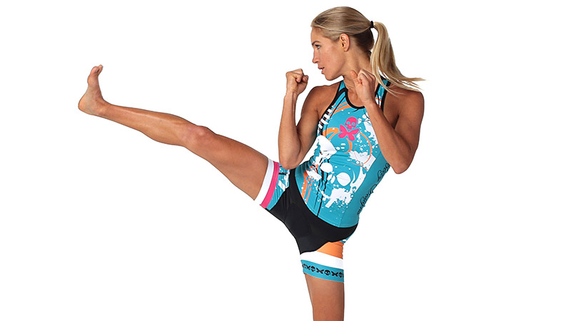 Betty Designs' edgy and unique graphics adorn this kit, which incorporates a women's specific cut and the latest technical fabrics. The racerback top has two rear pockets and the shorts feature a new leg closure that uses no silicone or stitching, which eliminates chafing. Plus, Betty Designs will donate a portion of the proceeds to cancer-related charities.