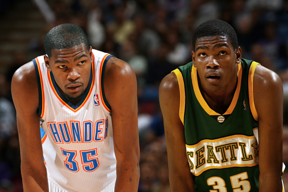 Kevin Durant of the Oklahoma City Thunder, then and now