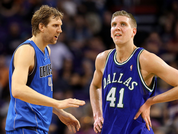 Dirk Nowitzki of the Dallas Mavericks, then and now