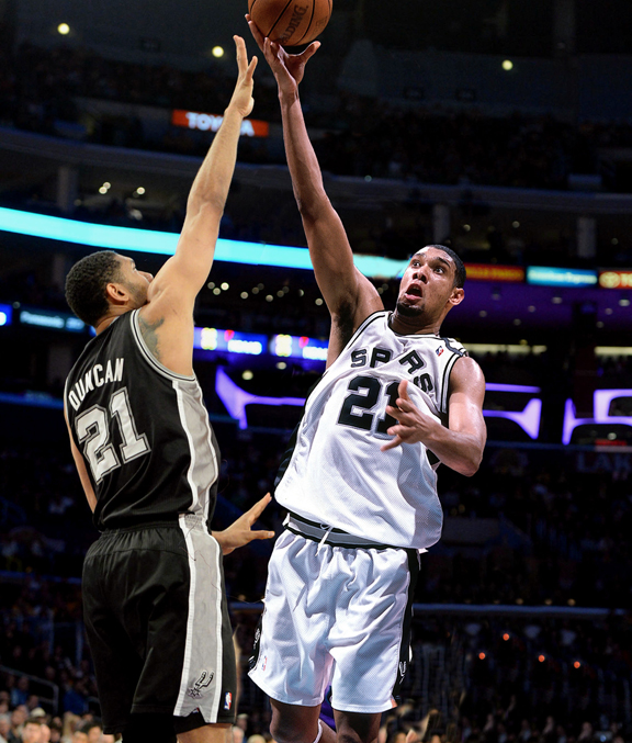 Tim Duncan of the San Antonio Spurs, then and now