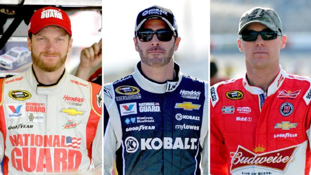 Dale Earnhardt Jr., Jimmie Johnson and Kevin Harvick