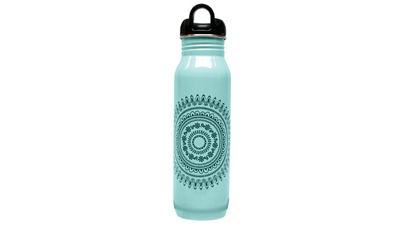 Why tote around a disposable plastic water bottle when you could use this BPA-free, 100% recyclable stainless steel water bottle? Using a refillable bottle keeps plastic bottles out of landfills and reduces the carbon footprint required to produce and transport bottled water. This water bottle features a wide-mouth design, making it easy to clean and to add ice cubes on warm days.
