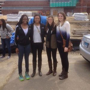 De'Janae Boykin (from left), Napheesa Collier, Haley Gorecki and Katie Lou Samuelson take timeout to pose for a photo outside UConn's new practice facility.