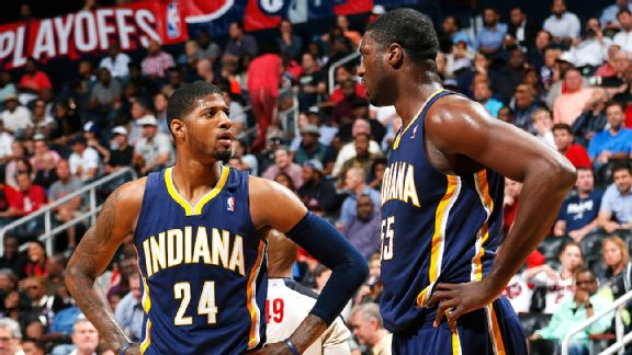 Paul George and Roy Hibbert