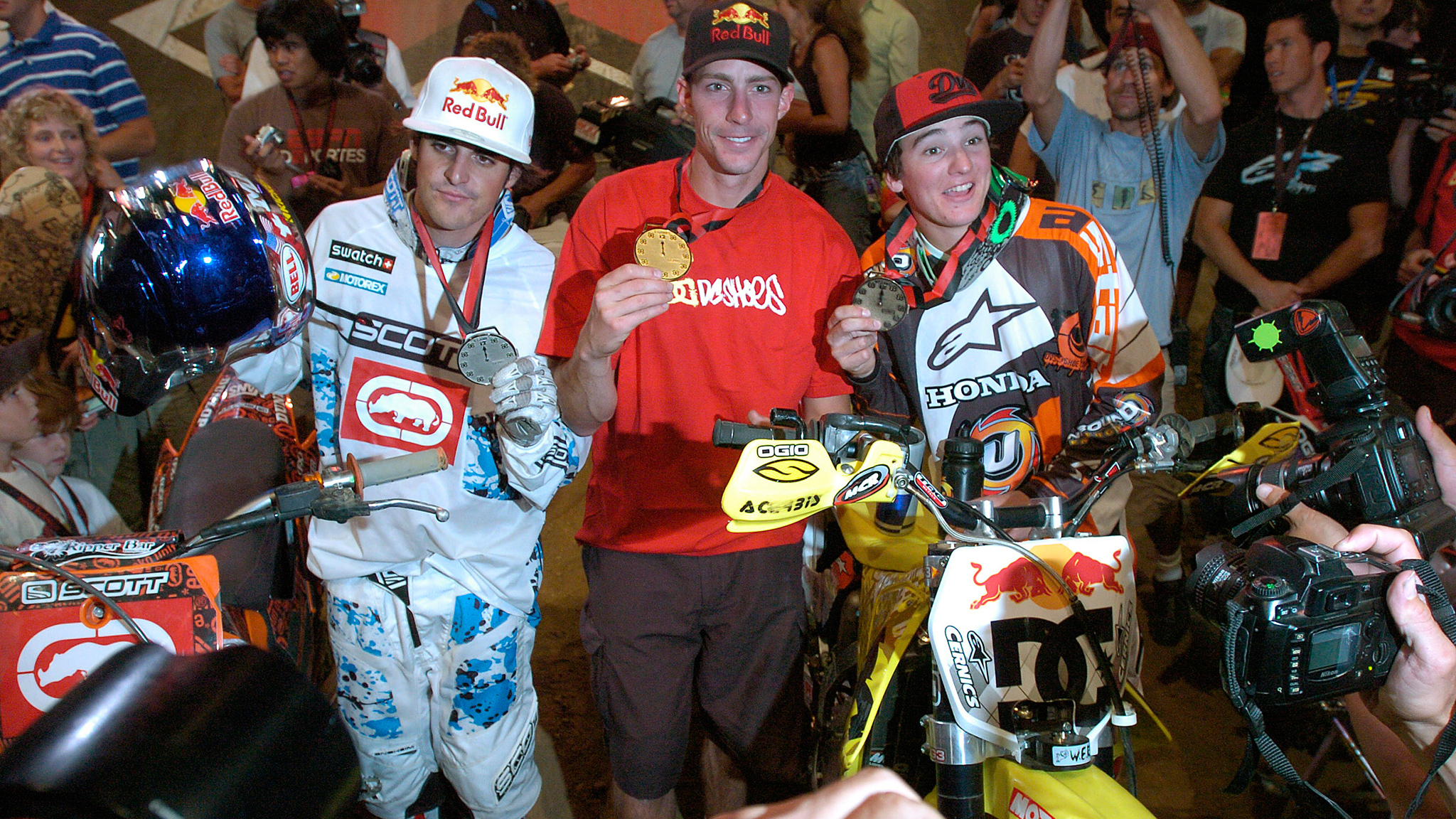 Moto-X Best Trick winners stand on the X Games L.A. podium in 2006: From left, silver medalist Mat Rebeaud, gold medalist Pastrana and bronze medalist Blake Williams.