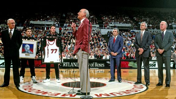 In 1993, Jack Ramsay and the 1977 title team were honored with a banner that hangs in the rafters.
