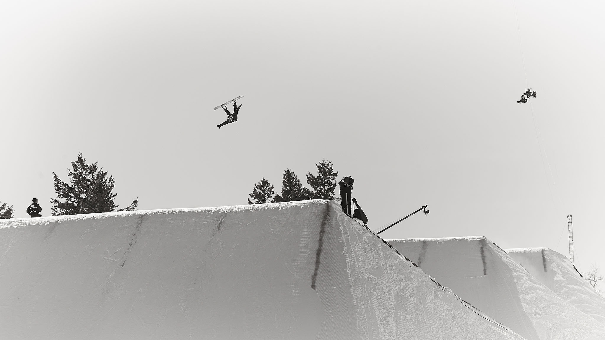 Most slopestyle courses are relatively the same: They start with a few rail gardens and end with three massive kickers. If you are a photographer who shoots slopestyle competitions regularly, it takes a certain amount of patience and creativity to keep thinking up ways to make the photos come out looking unique. Luckily Brit sensation Aimee Fuller, who incidentally is one of the only women to successfully land a double backflip, came to the rescue for this photo, shot during practice at X Games Aspen 2014.