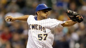 Francisco Rodriguez #57 of the Milwaukee Brewers