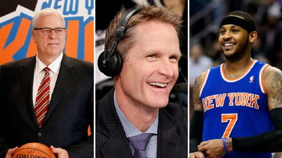 Phil Jackson, Steve Kerr, and Carmelo Anthony