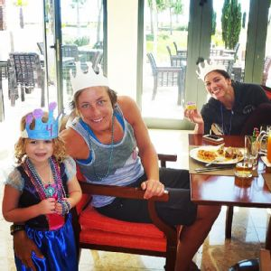 Christie Rampone's daughter Reece celebrated her fourth birthday abroad at the Algarve Cup, with national team players Abby Wambach, left, and Hope Solo.