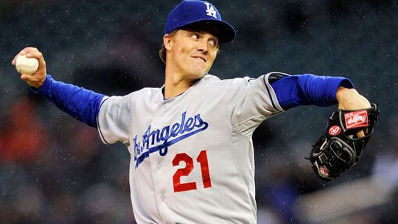 Zack Greinke #21 of the Los Angeles Dodgers