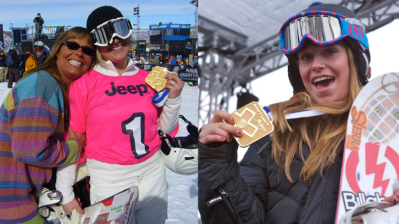 A 16-year-old Jamie Anderson poses with her first of many X Games golds (right) while sister Joanie and their mom bask in the glow of her Snowboarder X win at X Games Aspen 2007.