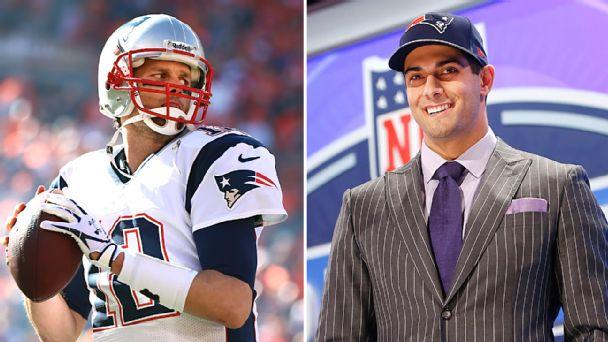 Quarterbacks Tom Brady and Jimmy Garoppolo