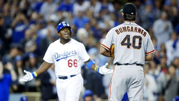 Yasiel Puig and Madison Bumgarner