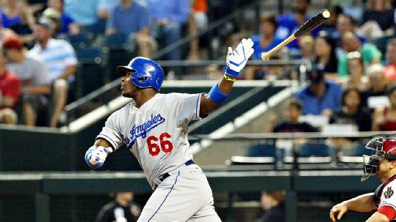 Yasiel Puig lance del bate Dodgers