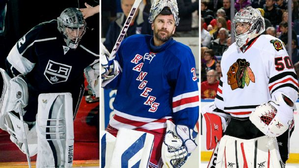 Jonathan Quick, Henrik Lundqvist, and Corey Crawford