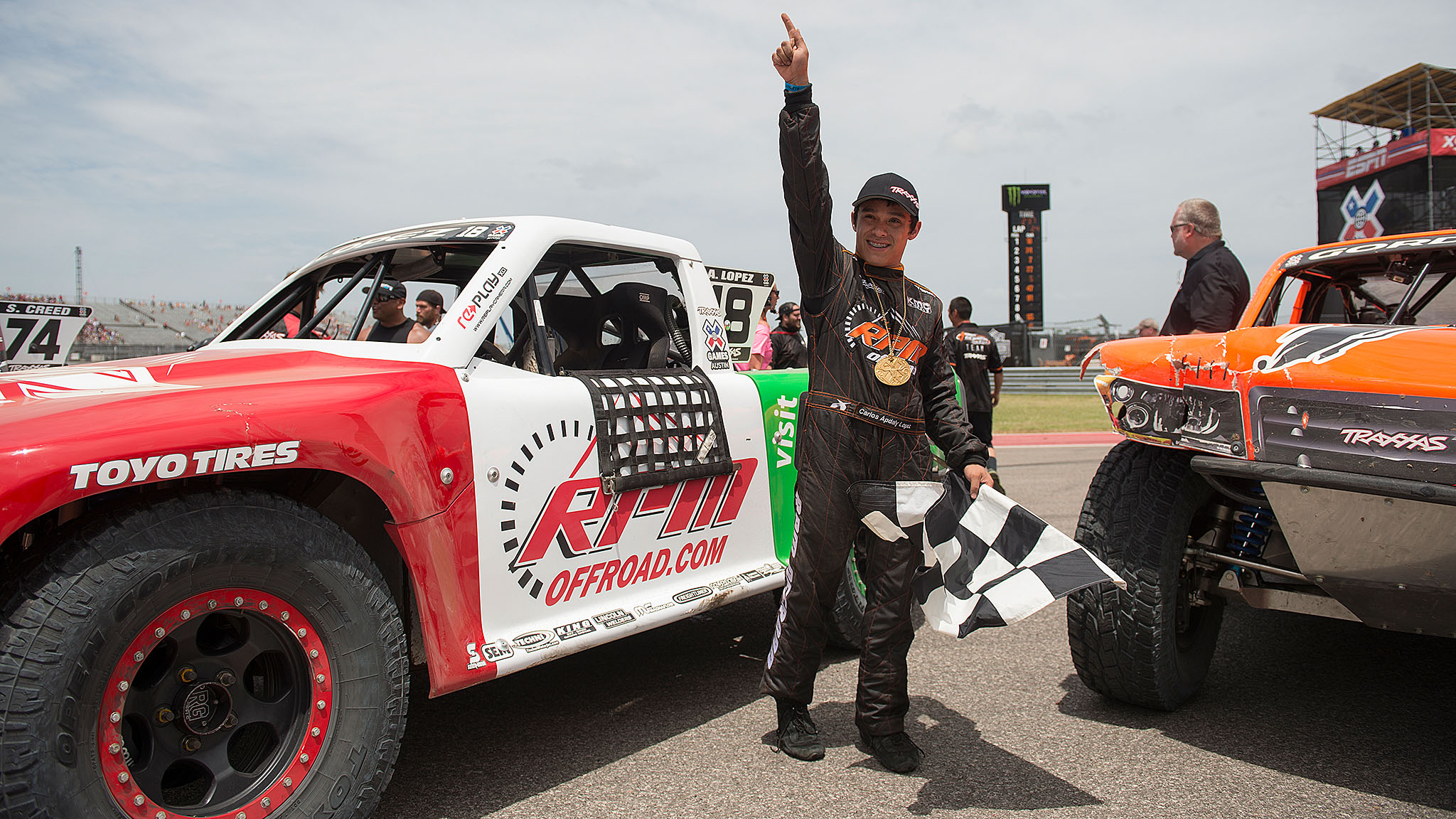 With his win in Stadium SUPER Trucks, Apdaly Lopez, a 19-year-old from Tecate, Mexico, became the first Mexican male to win an X Games gold.