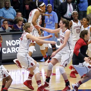 Keeping things fun has been one of the keys to success for Karlie and Bonnie Samuelson, here celebrating a Stanford win.