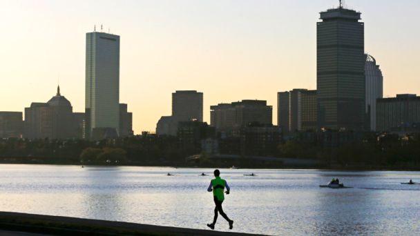 Runner and Boston skyline