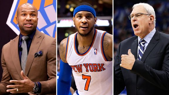 Derek Fisher, Carmelo Anthony & Phil Jackson
