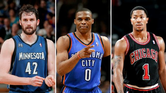Kevin Love, Russell Westbrook, and Derrick Rose