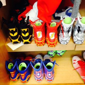 A bird? A plane? Nope, it's Dominique Rodgers-Cromartie's collection of superhero-themed cleats.