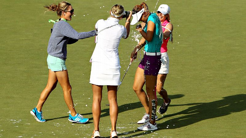Michelle Wie celebrated on the course -- and on social media -- after winning her first major at the U.S. Women's Open.