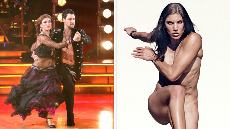 Hope Solo moved from the field to the ballroom after the 2011 Women's World Cup, joining the Season 13 cast for Dancing With the Stars. Matched with the always fiery Maksim Chmerkovskiy, Solo had her ups and downs, ultimately finishing in fourth place. After the show's season was over, however, Solo alleged that Chmerkovskiy slapped her during rehearsals. Later in 2011, Solo appeared nude on one of four covers of ESPN The Magazine's Body Issue.