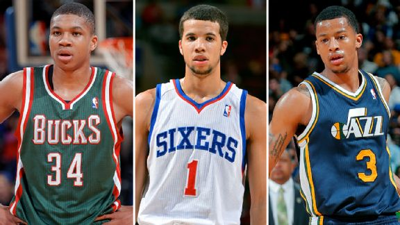 Giannis Antetokounmpo, Michael Carter-Williams, and Trey Burke