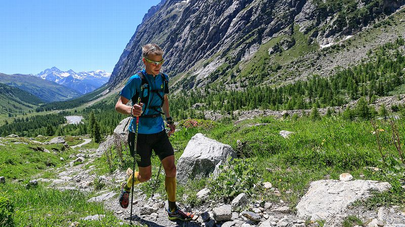 Beginning his 42.4-kilometer run at 12:52 p.m., Jonas Buud, 40, looks strong while conquering a 3,200-plus-foot climb up to Bertone. Last year the 100-mile world-record holder won the Swiss Alpine Marathon for the seventh consecutive time and finished second in the Comrades Marathon. He quickly completed his portion of the race, helping Team Ultra Trail maintain a 35-minute lead in its quest against the sun.