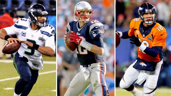Russell Wilson, Tom Brady and Peyton Manning
