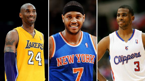 Kobe Bryant, Carmelo Anthony, and Chris Paul