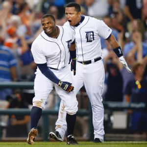 Rajai Davis and Miguel Cabrera