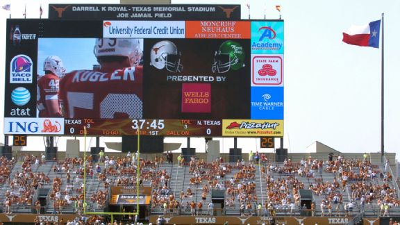 Texas Memorial Stadium scoreboard 140701