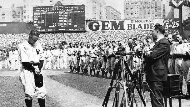 Lou Gehrig, July 4, 1939