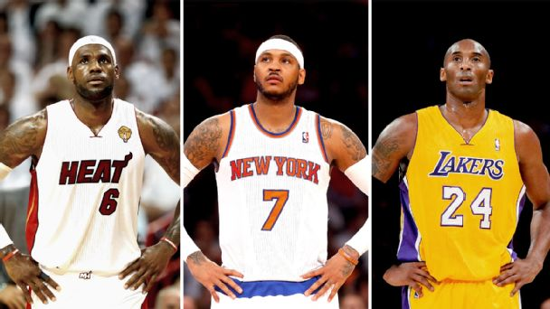 LeBron James, Carmelo Anthony and Kobe Bryant