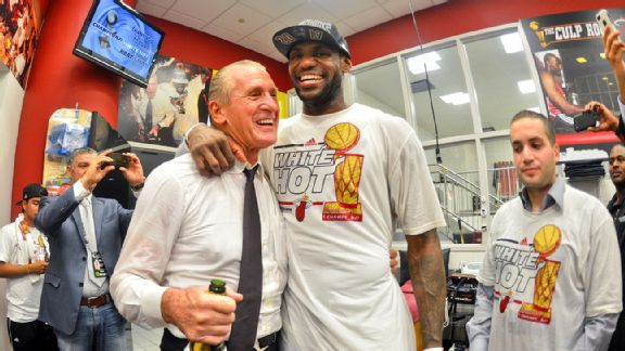 LeBron James and Pat Riley