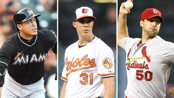 Giancarlo Stanton, Ubaldo Jimenez, and Adam Wainwright