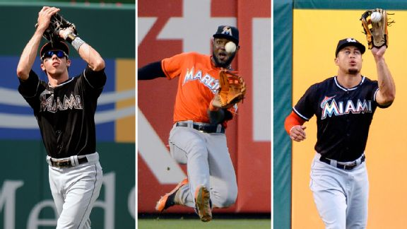 Christian Yelich, Marcell Ozuna, and Giancarlo Stanton