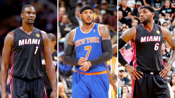 Chris Bosh, Carmelo Anthony and LeBron James