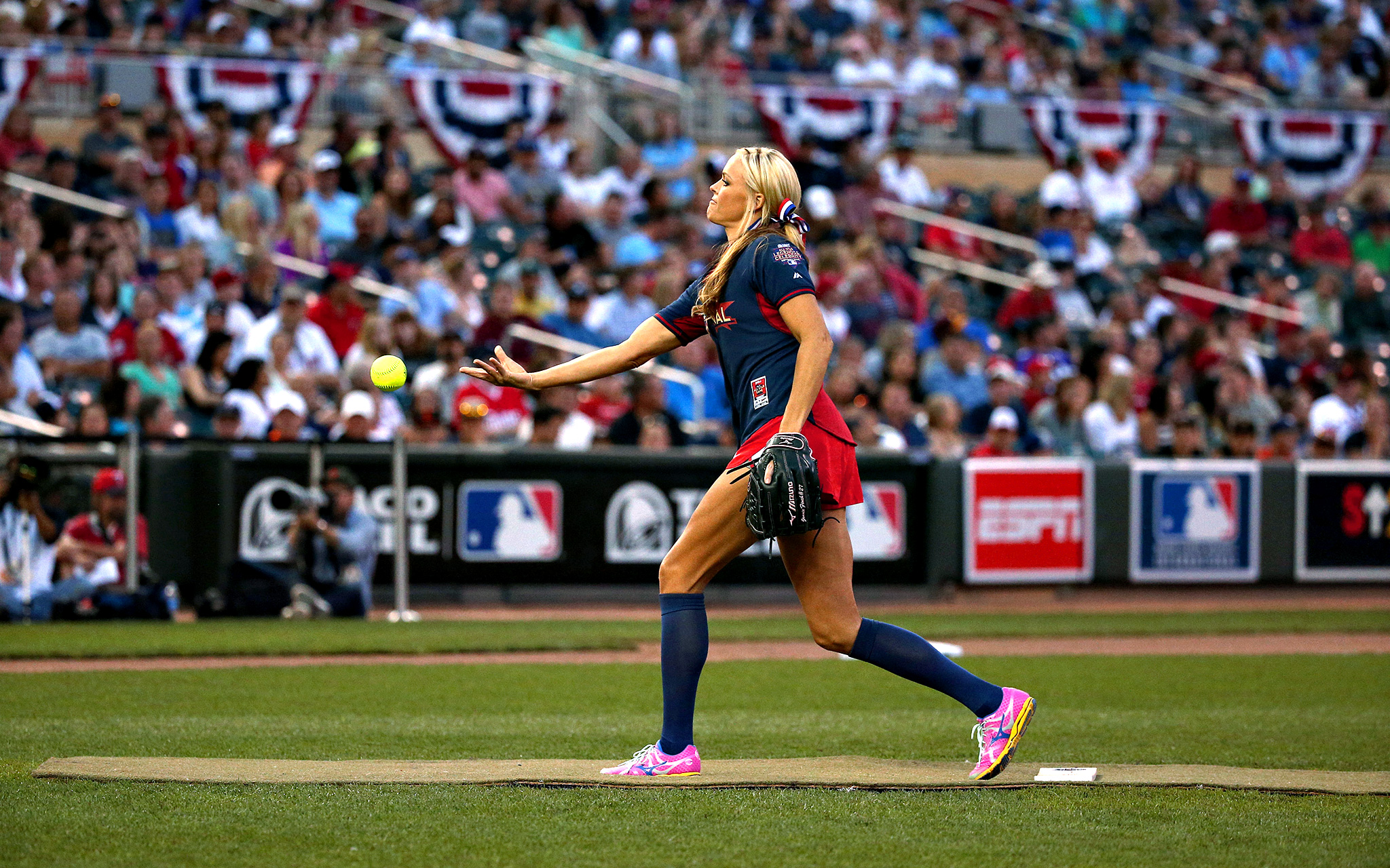 Jennie Finch pitches in the Taco Bell Legends & Celebrity softball game during Major League Baseball All-Star Game festivities at the Target Field in Minneapolis, Minnesota.
