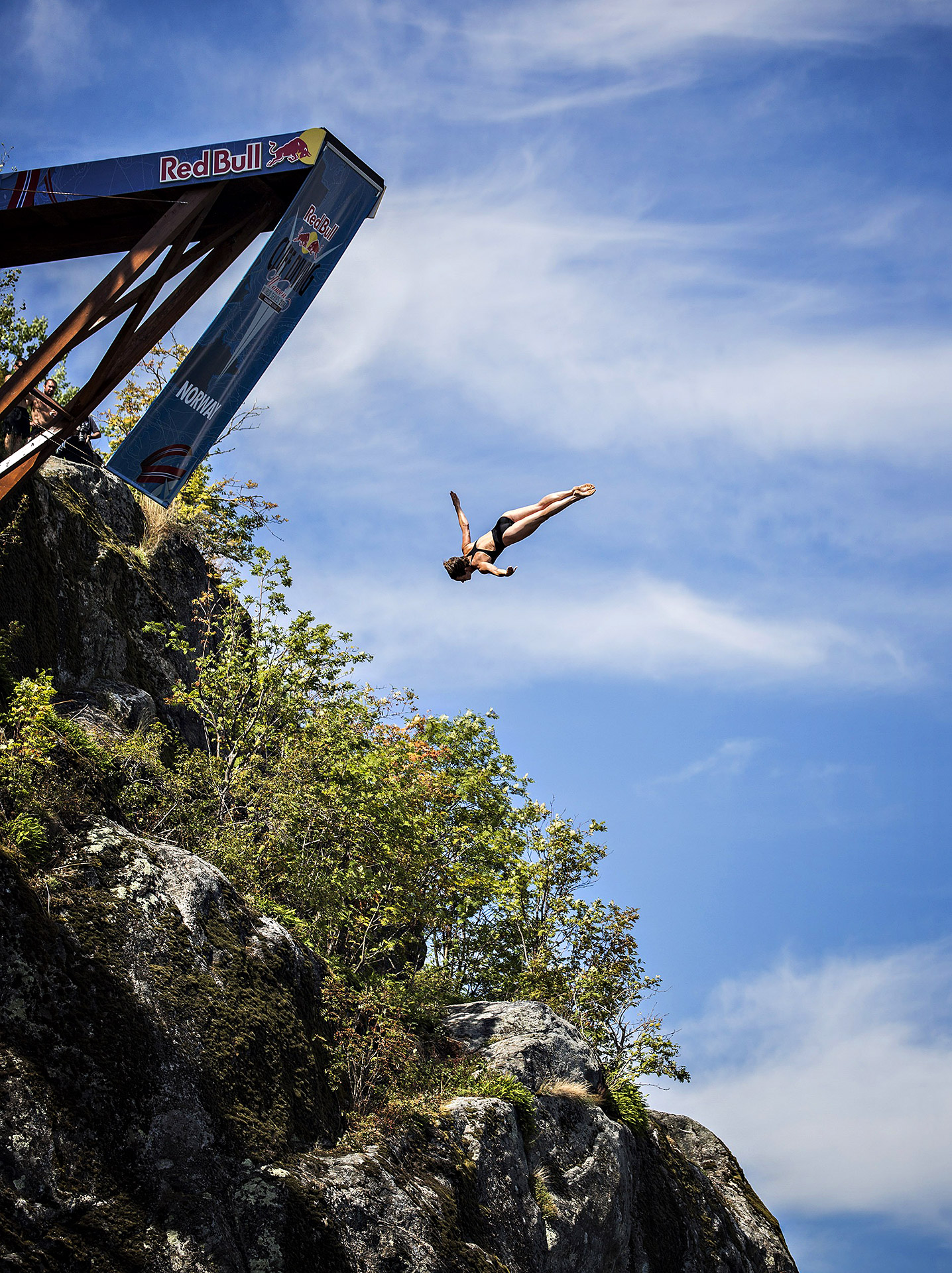 Ginger Huber of the U.S. dives from the 20-meter platform during the fourth stop of the Red Bull Cliff Diving World Series in Kragero, Norway.